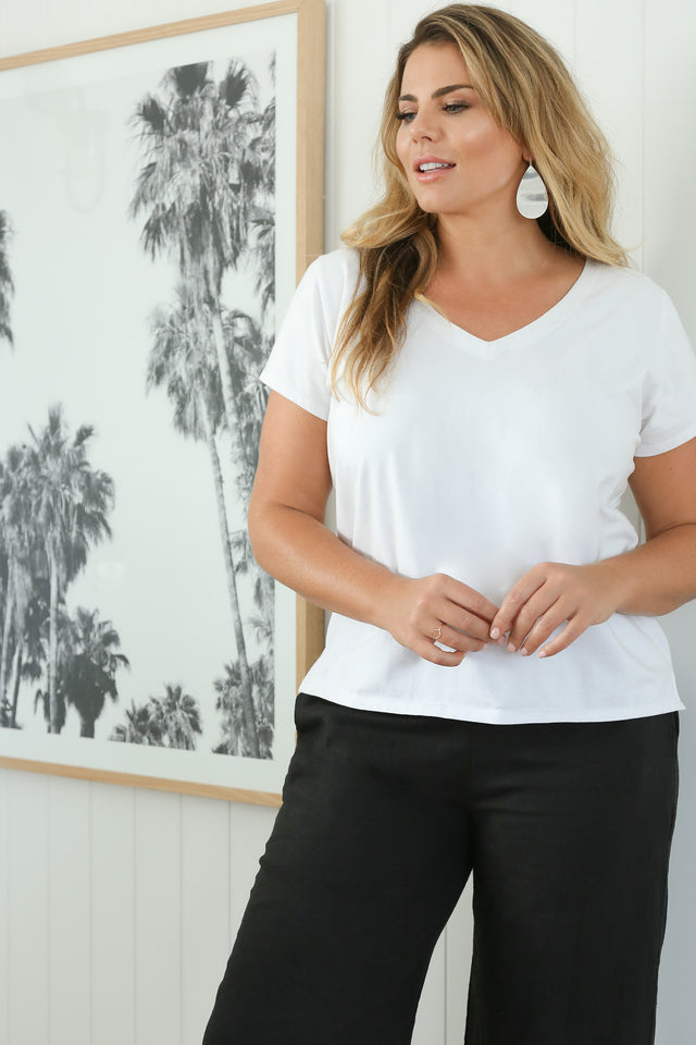 V-Neck Tee in White