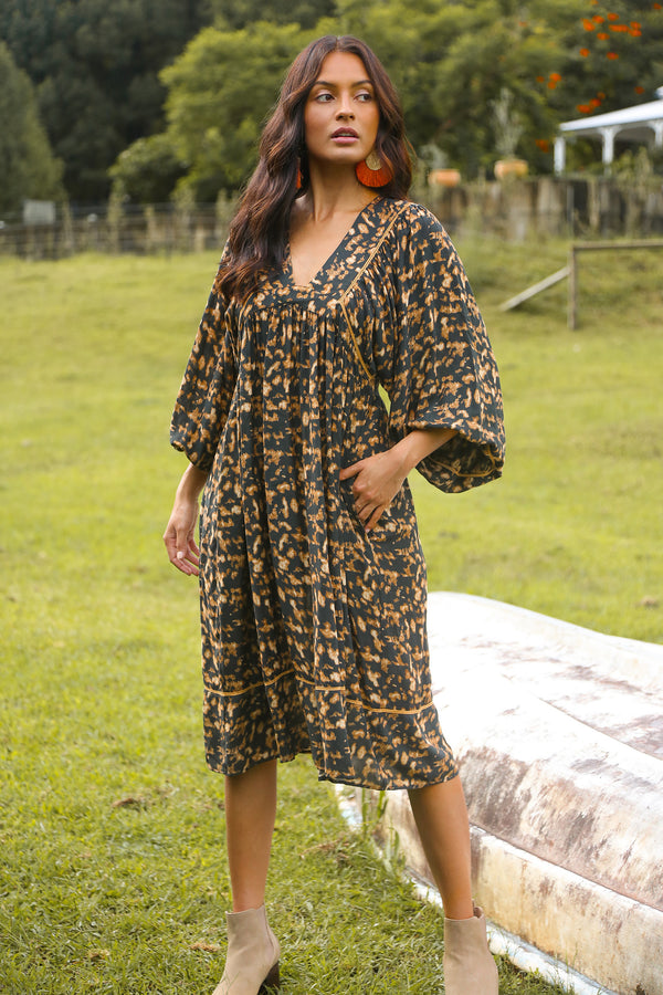 Annabella Midi Dress in Zambia Leopard