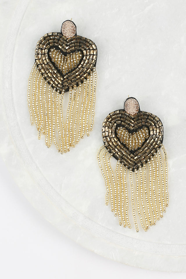 Beaded Heart Earrings in Gold
