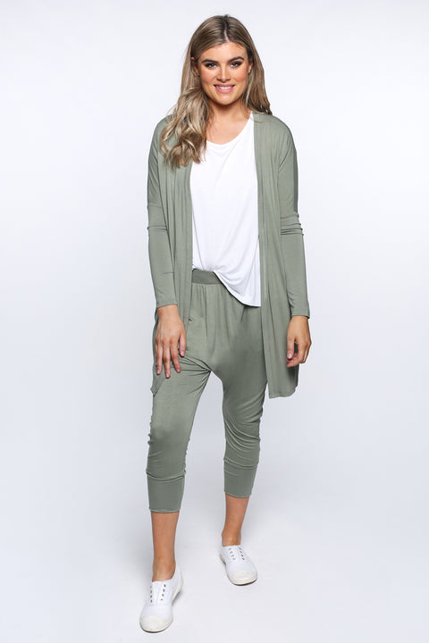 Betty Basics Como Cardigan in Avocado