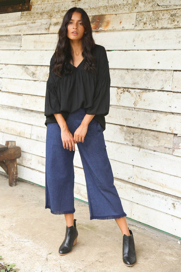 Camille Denim Pant in Navy