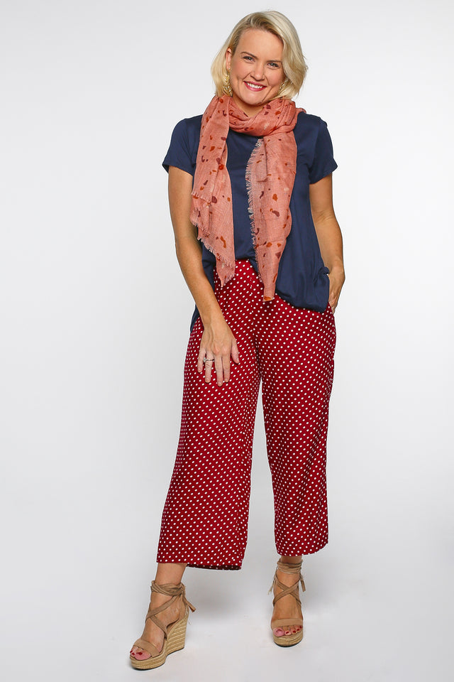 Camille Wide Leg Pant in Spotted Maroon