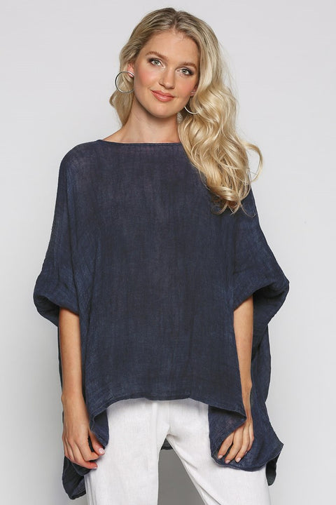 Cherie Oversized Top in Navy