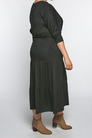 Cherry Blossom Dress in Plain Black (Plus Size)