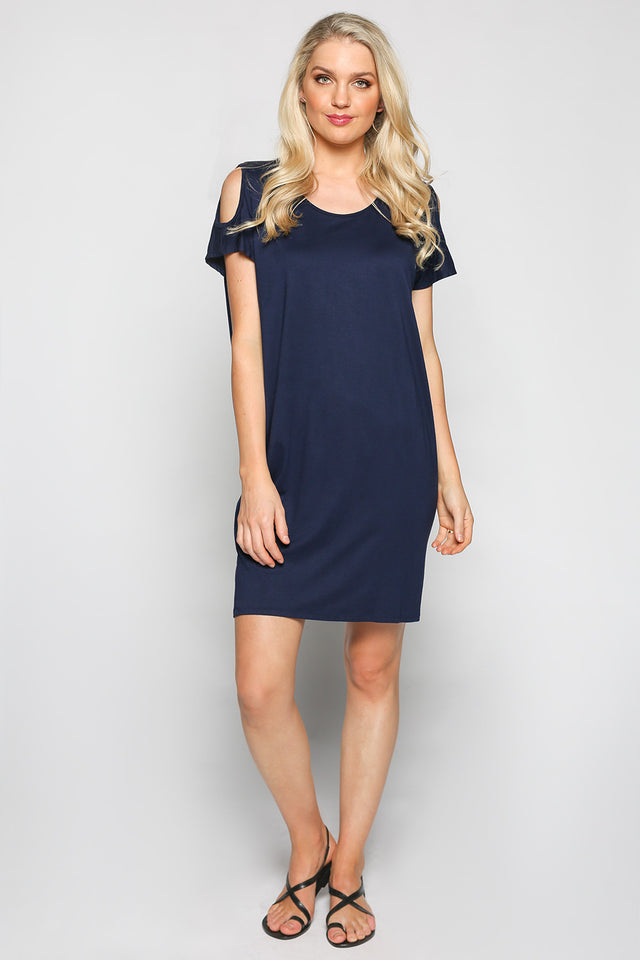 Cold Shoulder Dress in Navy (Plus Size)