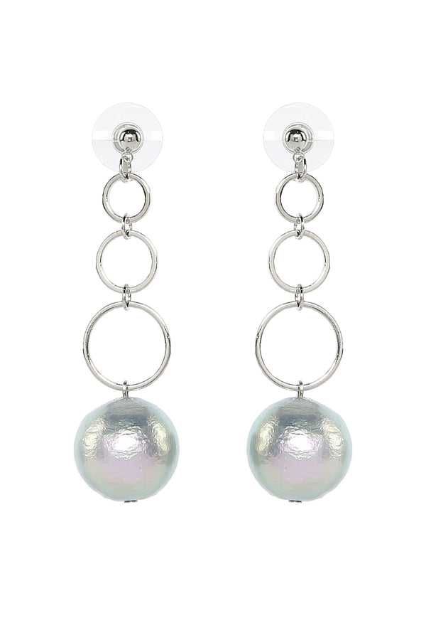 Cotton Pearl Drop Earrings in Rhodium
