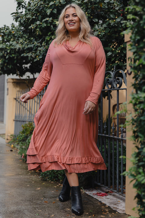 Cowl Neck Stretch Dress in Faded Rose