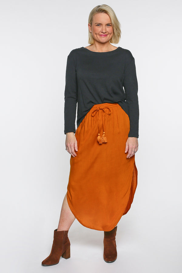 Tulip Curved Hem Skirt in Terracotta
