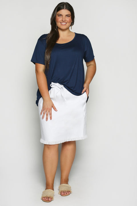 Adrift Denim Skirt in White