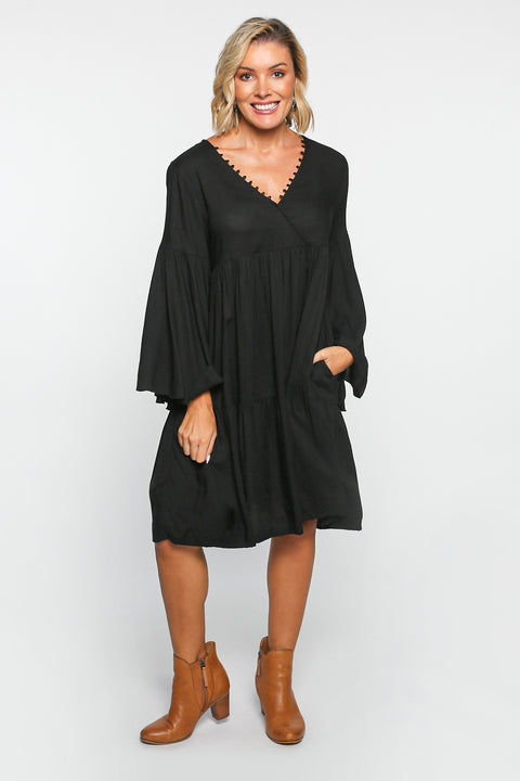 Everly Billow Sleeve Dress in Black