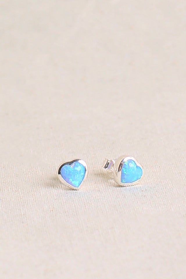 Heart Opal Earrings in Blue