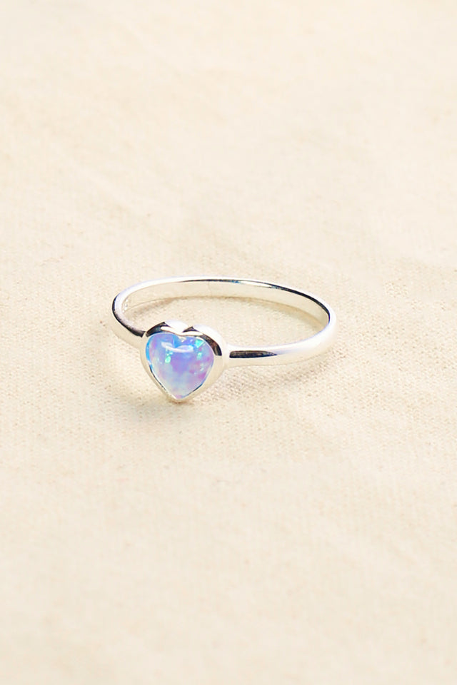 Heart Opal Ring in Blue