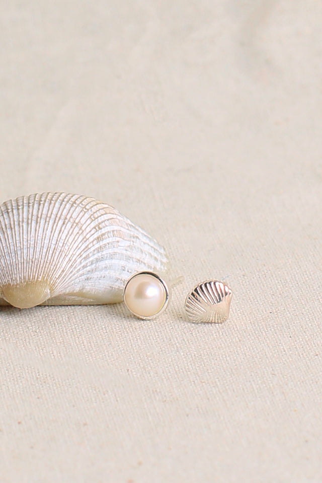 Shell Mismatch Pearl Earrings in Silver