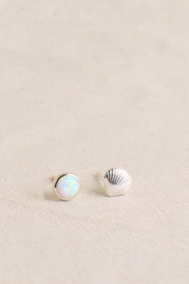 Shell Mismatch Opal Earrings in White