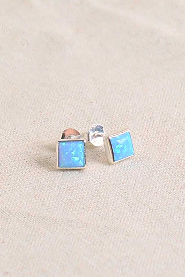 Square Opal Stud in Blue