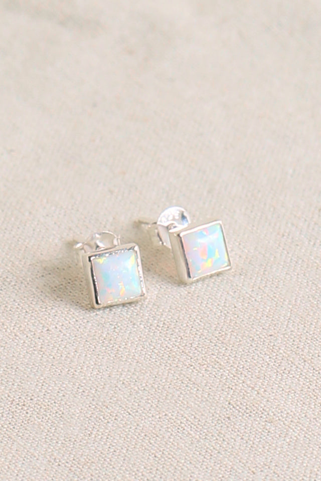 Square Opal Stud in White