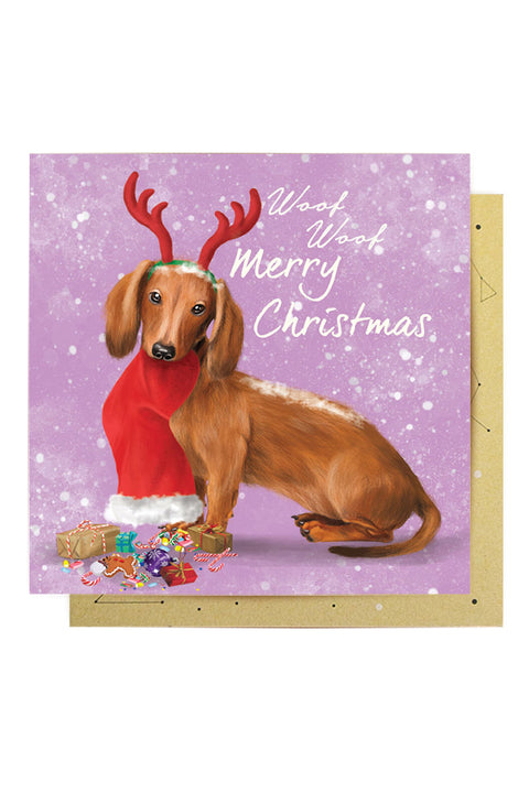 Greeting Card Christmas Daschund