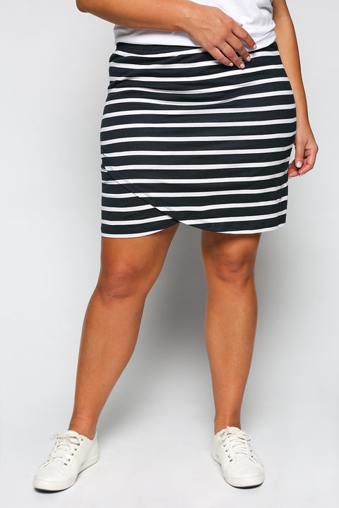 Harley Navy Skirt in White Stripe