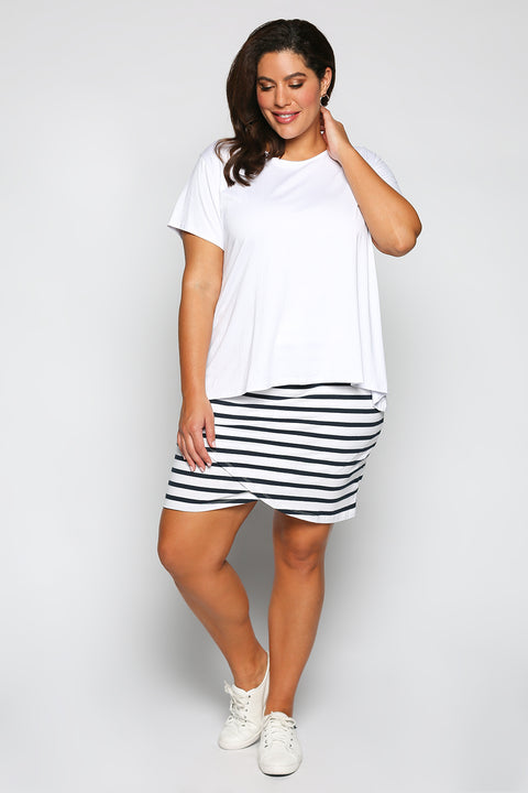 Harley White Skirt in Navy Stripe