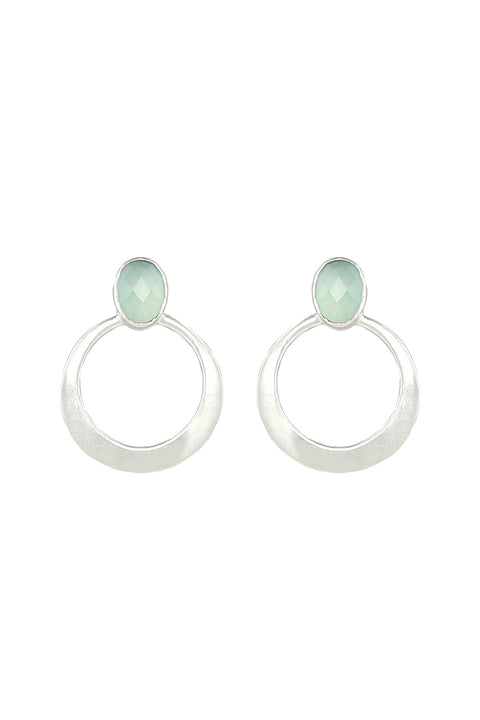 Delilah Gemstone Earrings in Aqua Onyx