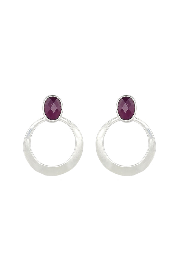 Delilah Gemstone Earrings in Smoky Amethyst
