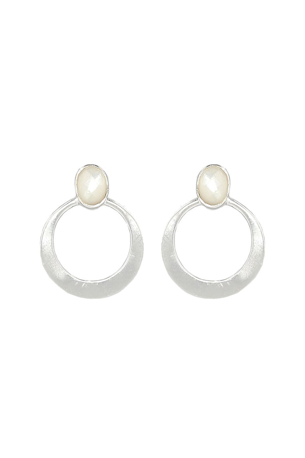 Delilah Gemstone Earrings in Pearl