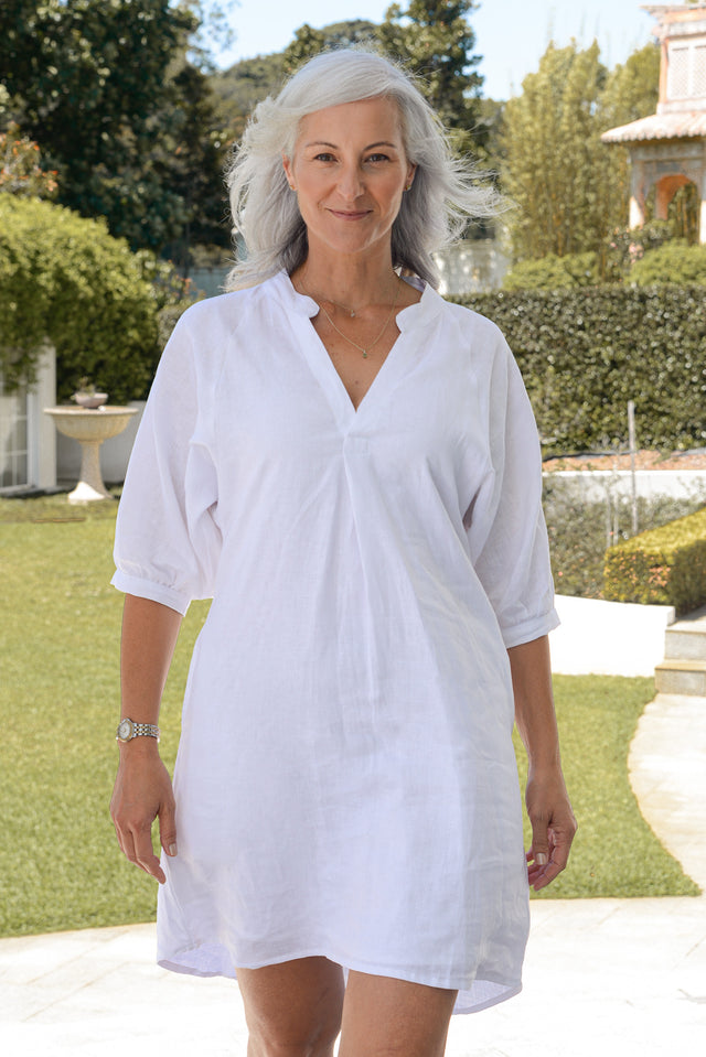 Indiana Linen Dress in White