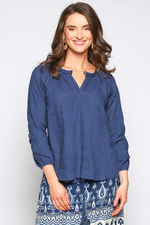 Jaggar Peasant Top in Dark Blue