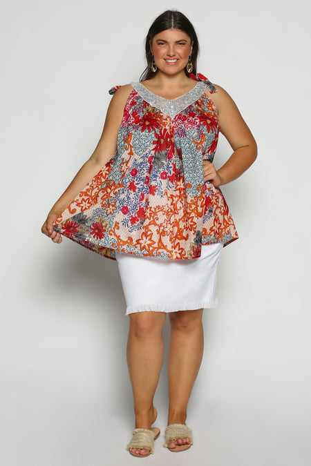Kiah Top in Rose Riviera (Plus Size)