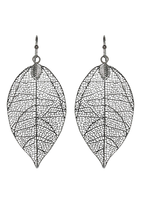 Leaf Cutout Earrings in Hematite