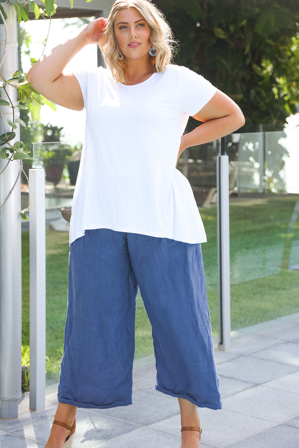 Lily Wide Leg Pant in Capri Blue