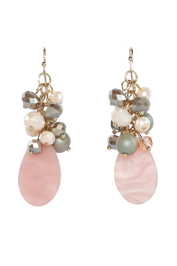 Linked Glass Bead Earrings in Pink