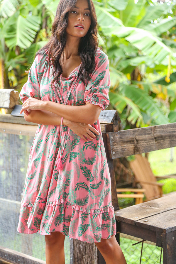 Lucy Shift Dress in Fern Pink