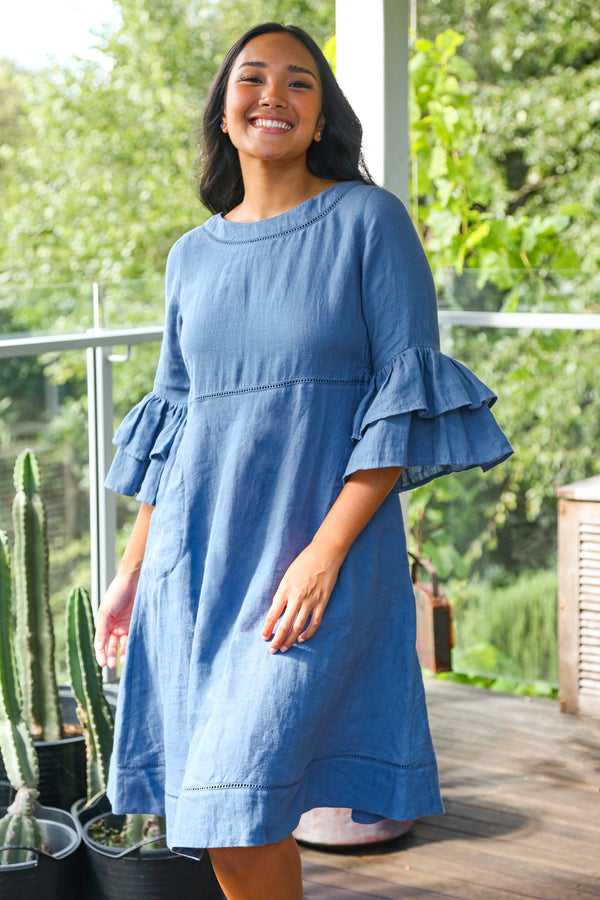 Lulu Linen Dress in Capri Blue