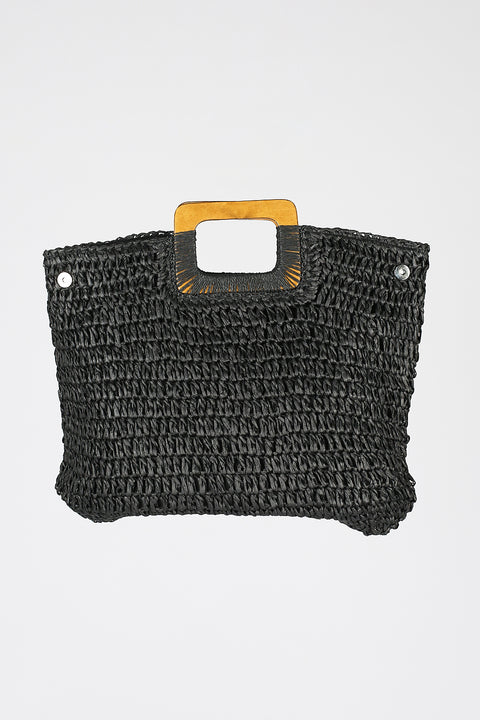 Straw Bag in Black