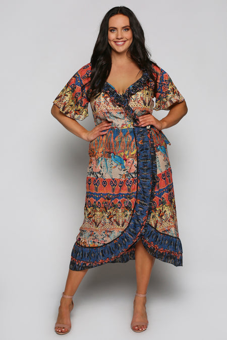 Misha Wrap Dress in Bird Island (Plus Size)