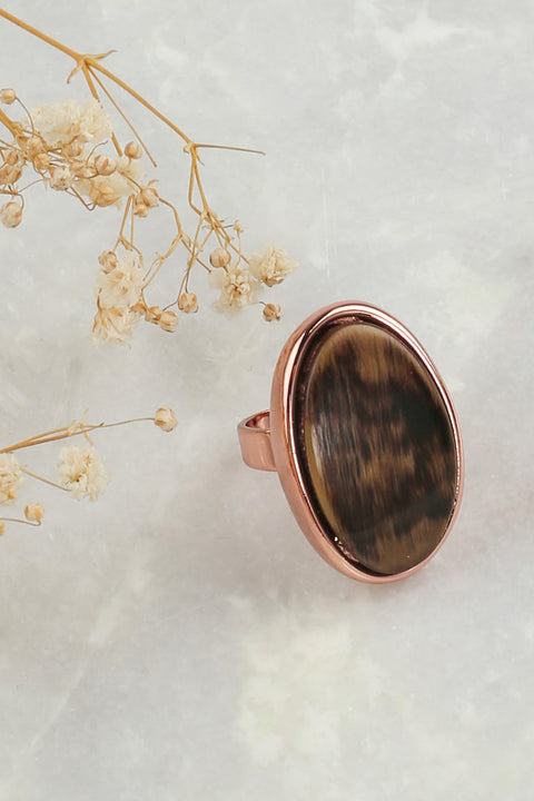 Mosaic Ring in Coffee Gold