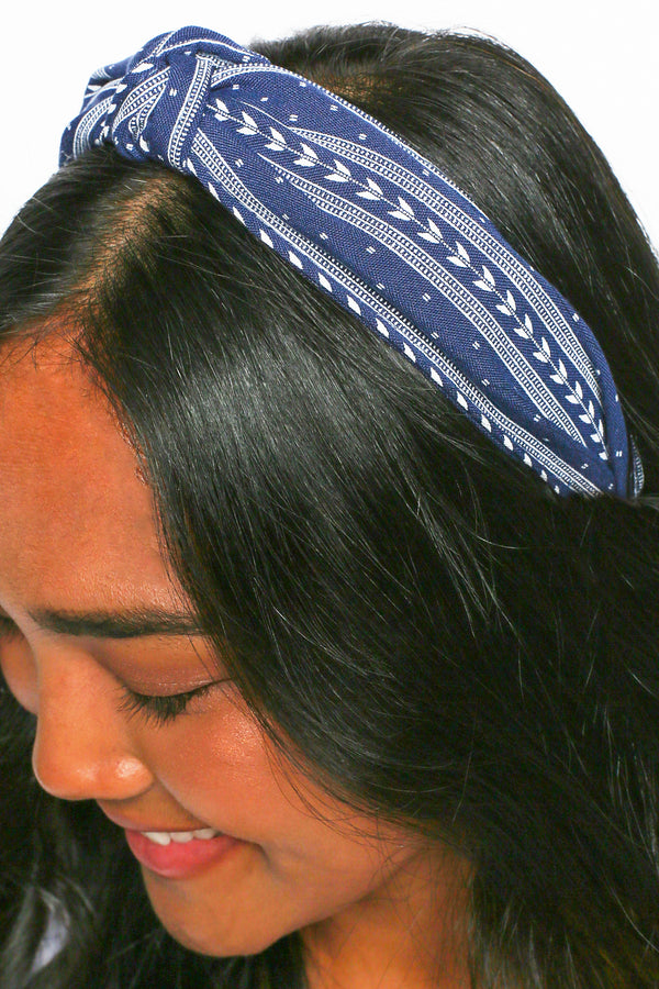 Natasha Nautical Headband in Navy