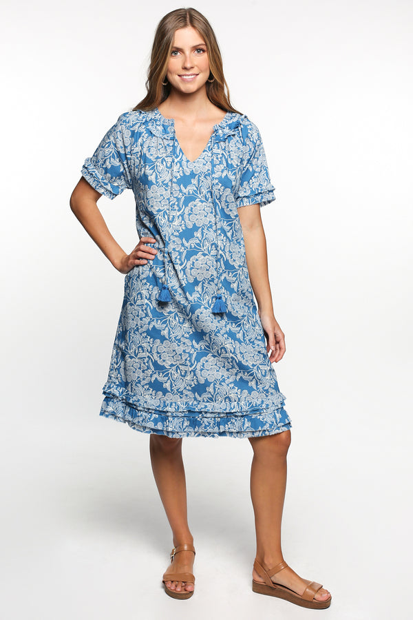 Panama Shift Dress in Ocean Wattle