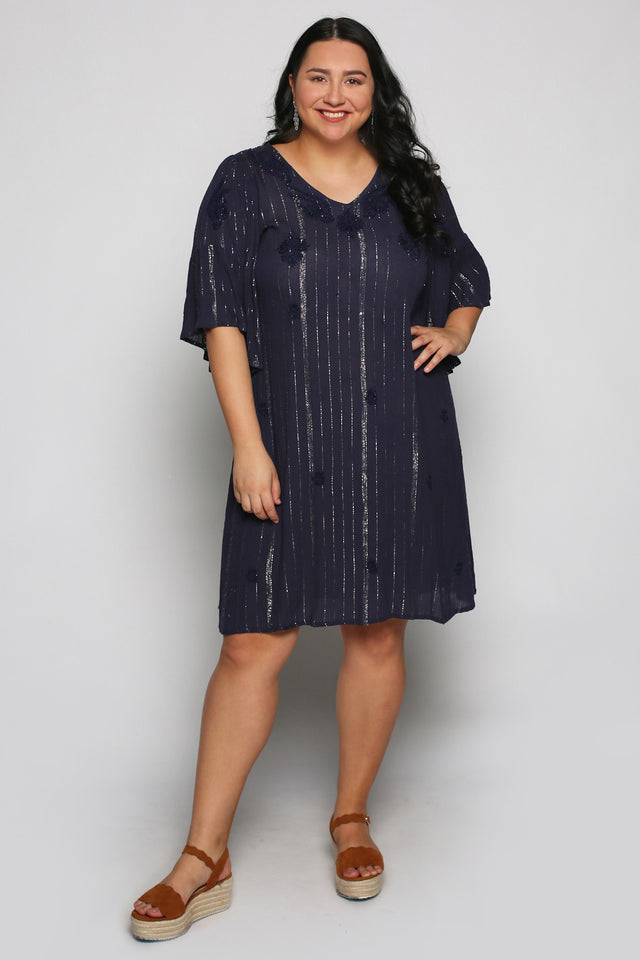 Paxton Dress in Illusion Navy (Plus Size)