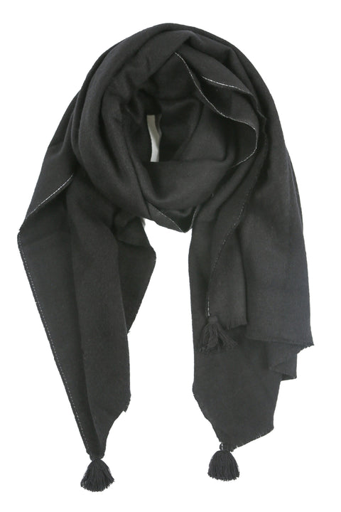 Pom Pom Scarf in Black