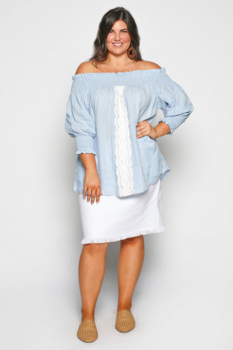 Poppy Top in Pastel Blue