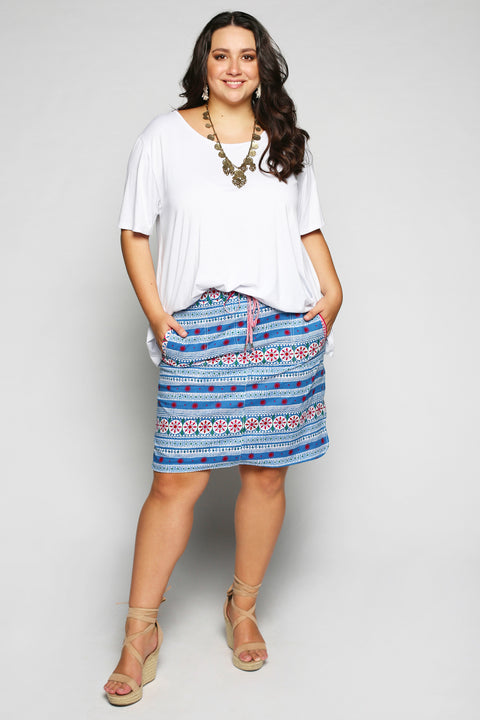 Prisha Reversible Skirt in Vertical Garden (Plus Size)
