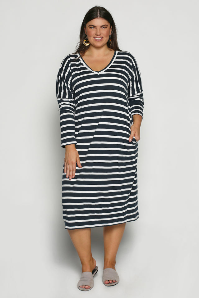 Relaxed Tee Dress in Nautical Stripe (Plus Size)