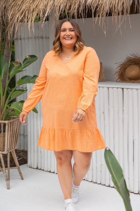 Remi Frill Dress in Orange Gingham