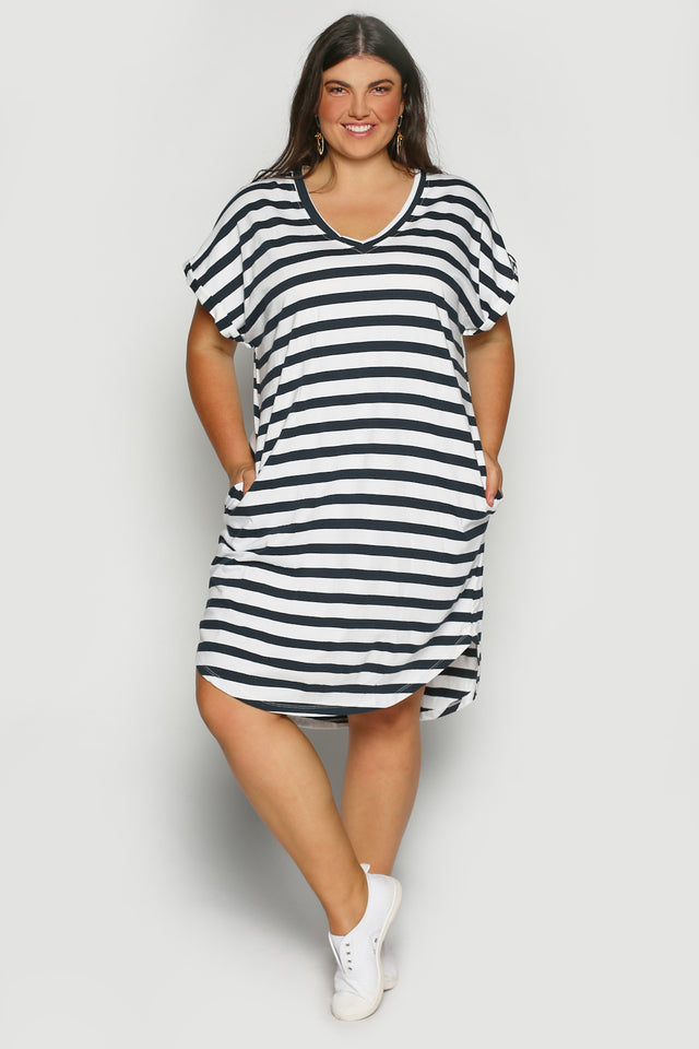 Rolled Sleeve Dress in French Stripe (Plus Size)