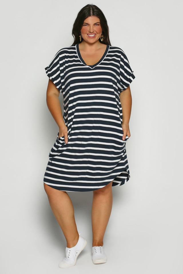 Rolled Sleeve Dress in Nautical Stripe (Plus Size)