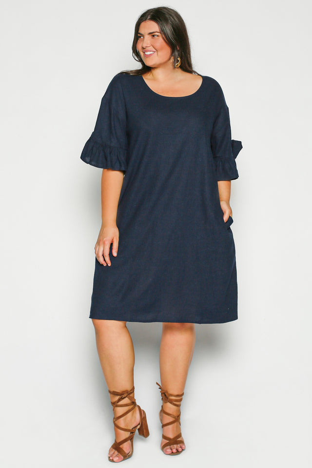 Ruffle Sleeve Shift Dress in Navy (Plus Size)