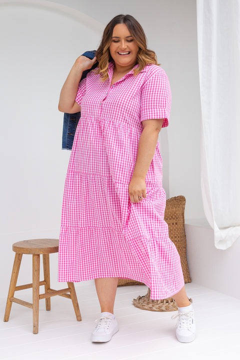 Sabre Collared Dress in Candy Pink Gingham