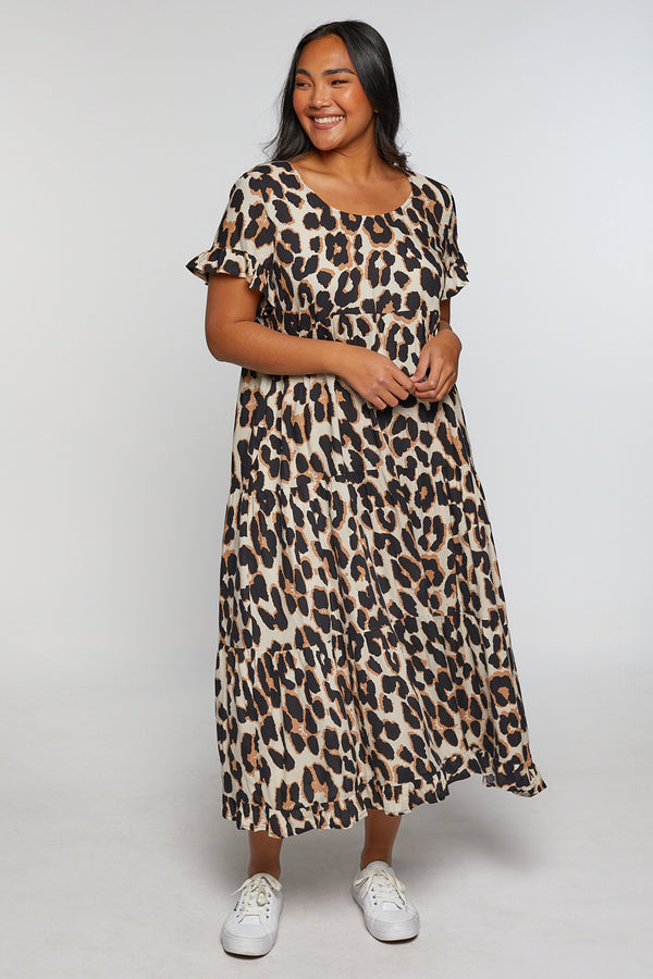 Sabre Long Sleeve Dress in Leopard
